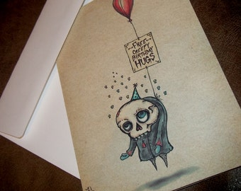 Free Creepy Birthday Hugs Card  5x7 Greeting Card Blank inside by Agorables Rulers of the Undead Gothic Skull