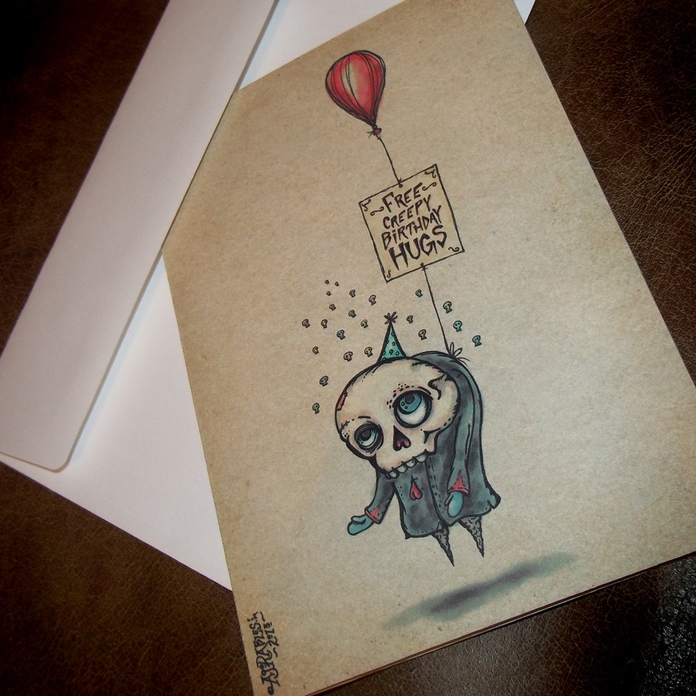 Free creepy birthday hugs card 5x7 greeting card blank inside zoom kristyandbryce Images