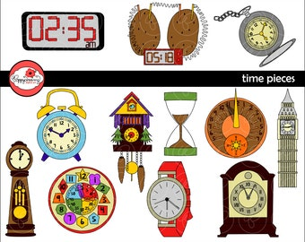 Time Pieces Clipart: Digital Clip Art Pack (300 dpi) School Teacher Clip Art Clocks Colors Kindergarten Pre-K