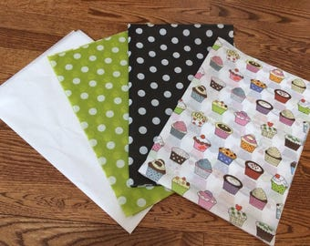 Kiwi with White Dots , Black with White Dots, White , and Rainbow Cupcake Tissue Paper Variety