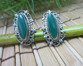 Green Turquoise Earrings Alpaca Silver Screw Backs Marquise Stones Filigree Southwestern Style Vintage FREE SHIPPING (658)