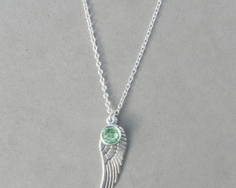 August Birthstone and Angel Wing- Peridot Swarovski Drop Necklace