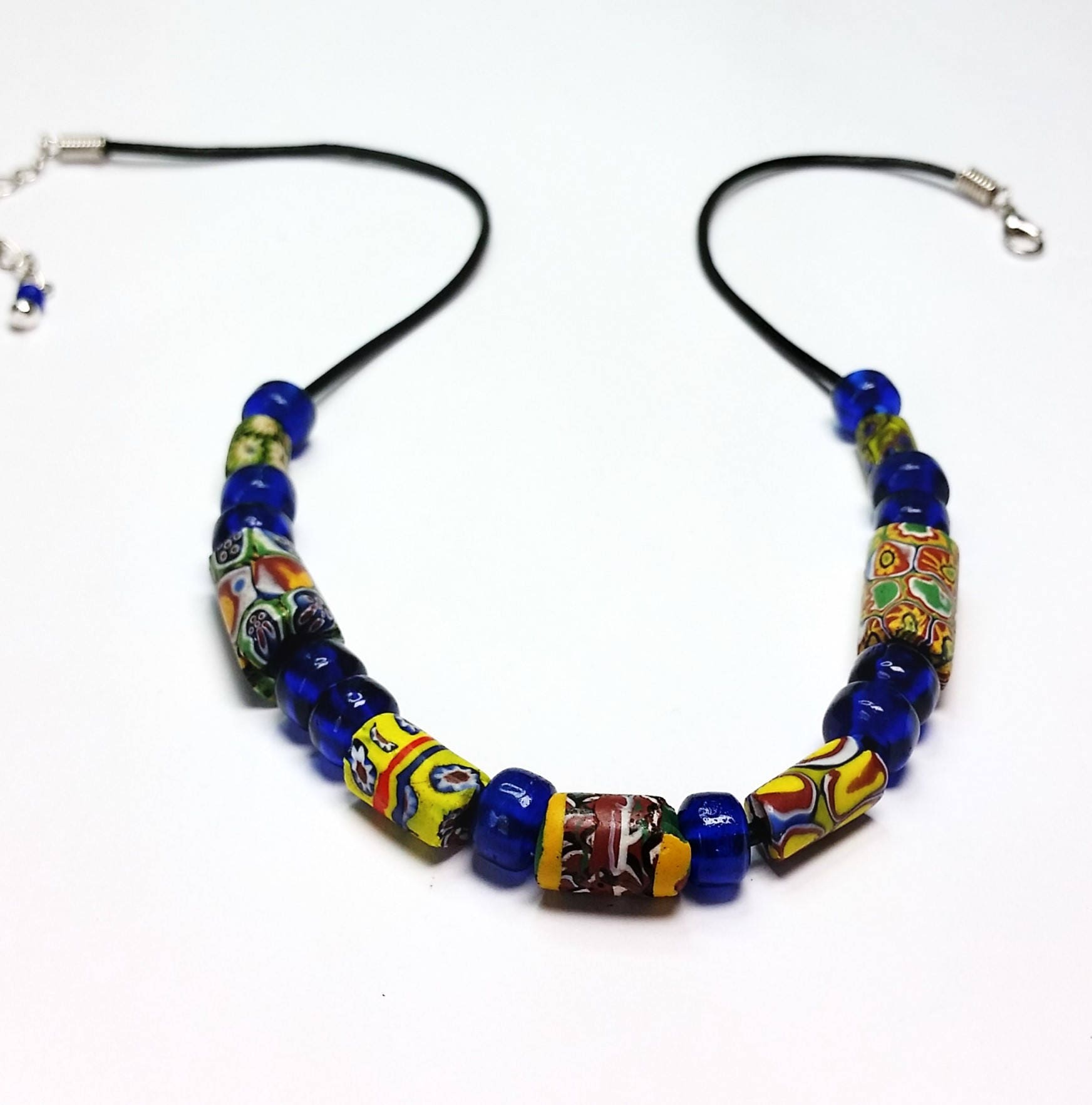 tribal amber hebron african design product moroccan chrysalis trade vintage bead gloria ewing by blue necklace jewelry