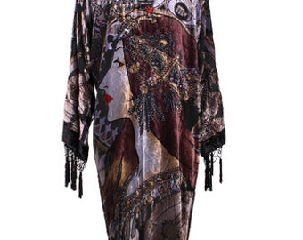 DeLuxe Black Vintage Velvet&Silk Beaded Mucha Astrologer Boho Kimono