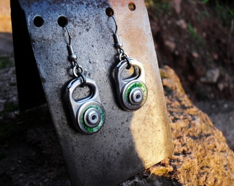 Dangle Earrings, Eco Friendly, Recycled, Upcycled, Silver and Green, Beer Can, Aluminium, Stainless Steel. Riveted Metal Earrings,