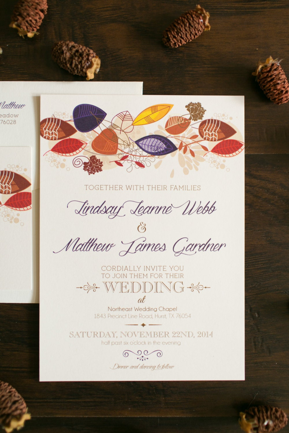 5x7 Fall Wedding Invitation with Leaves in Purple, Red, Orange and ...
