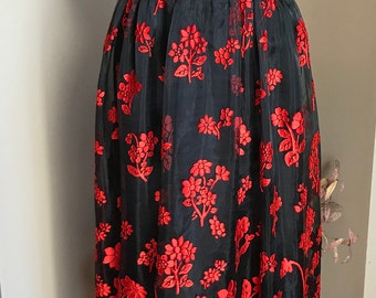 60s 70s Vintage Black Velvet Formal Maxi Dress with Floral Overlay/ Modern Day Small