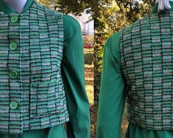 Womens Vest, 50s Vest, Green Vest, Womens Green Vest, 50s Costume, Vintage Costume, Cropped Vest, Vintage Vest, Ruth Midgette, Vest Size 6