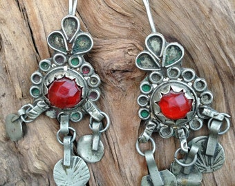 Enamel Berber Earrings with Red Glass from South Morocco