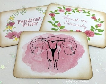 Feminist Postcard SET of 6 with Envelopes/ Feminist Stationery Gift Idea/ Smash the Patriarchy/ Uterus Art Card/ Girl Power Writing Set