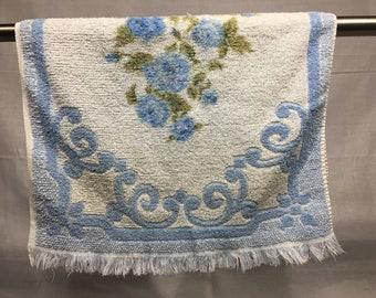 Vintage floral hand towel, blue roses or flowers, hand towel, vintage bathroom towel,