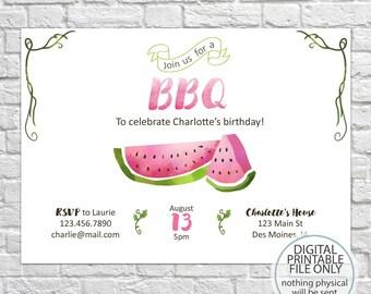 BBQ Birthday Invites, Watermelon Invitations, Summer Birthday Invite, Adult Birthday, Kid's Birthday Invitations, Summer Theme Party