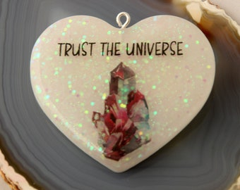 Trust The Universe Heart Pendant, Crystals, Magical, Magic, Witchy Woman, Witch, Law of attraction, the secret, Purse charm