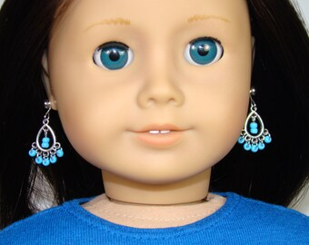 """Turquoise Dangle Earrings for 18"""" Play Dolls such as American Girl®"""