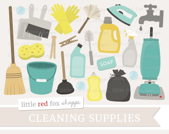 cleaning clipart cleaning supplies clip art vacuum cleaner rh etsy com Cleaning Bottle Clip Art cleaning supplies clipart free