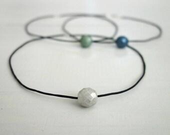 Thin leather choker necklace white bead choker single bead necklace black cord choker for women