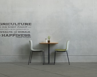 Thomas Jefferson Agriculture is our Wisest Pursuit Typography Quote - Wall Decal Custom Vinyl Art Stickers