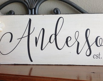 Family Last Name Sign, Family Established Sign, Wedding Sign, Anniversary Sign, Distressed Sign, Wood Sign Saying