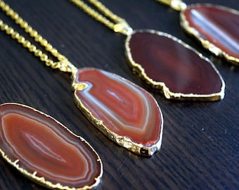 Agate Slice / Raw Crystal Necklaces / Crystal Necklaces / Crystal Necklace / Crystal Pendants /  Boho Jewelry / Boho Necklaces