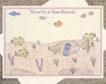 Judaica, Bat Mitzvah, Bat Mitzvah Card, Funny Bat Mitzvah Card, Jewish Card, Jewish Art, Judaica Cards, Fish Card