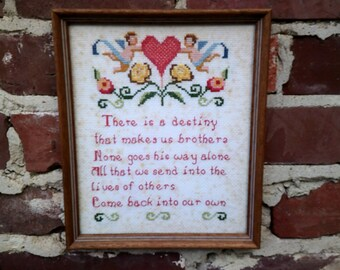Edwin Markham quote cross stitch, destiny quote, do on to others, framed cross stitch, 80's cross stitch, folk art cross stitch, brotherhood
