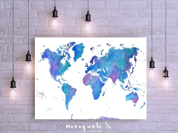 Cobalt Prussian blues and Violet hues World map ORIGINAL. Large sizes Wall Art Watercolor Poster, christmas gift, Mappamondo, Carte du monde