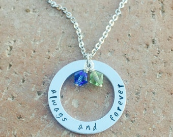 Always And Forever Necklace, Love Necklace, Handstamped Necklace, Handstamped Jewelry, Anniversay Necklace, Custom Necklace