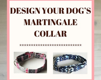 Design Your Dogs Adjustable Martingale Collar with Additional D Ring