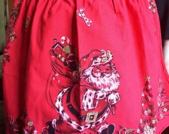 Vintage Apron Christmas Tree Santa Claus Apron HouseWork Style