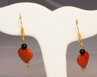 Heart Jasper Earrings / Jasper Earrings / Jasper and Onyx Earrings / Gemstone Earrings / Fashion Earrings Valentine Earrings