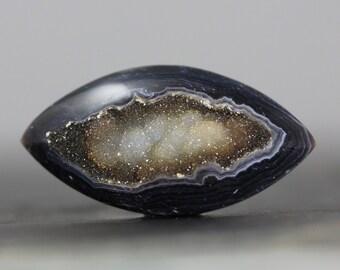 Marquis Druzy Gemstone - Dark Geodes - Sparkling, Shimmering Crystalline Center - 39mm (5983)