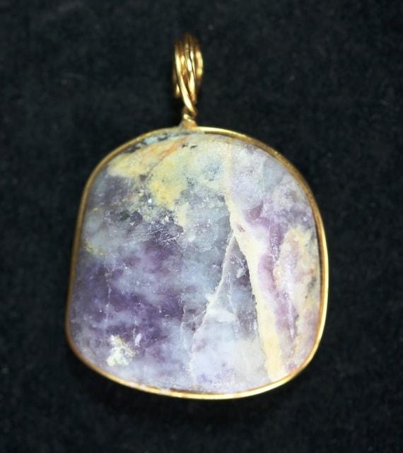 Tiffany Stone pendant, purple cream white, wire wrapped 75ct
