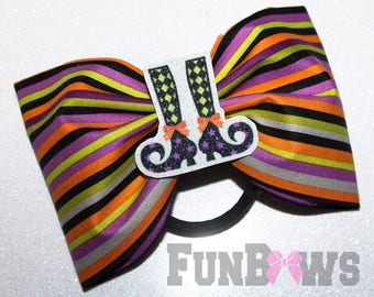 Fun and Funky tailless Witches legs Halloween Bow  - By FunBows - READY TO SHIP