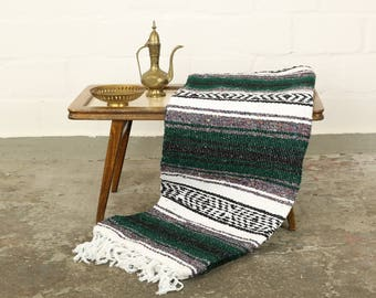 Solidly woven Navajo blanket from Mexico Sarape 180 x 130 cm dark green