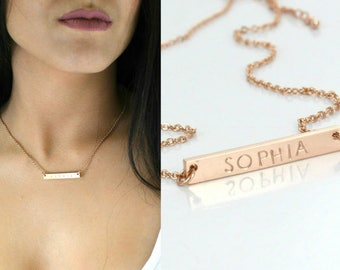 Bar Necklace - Gold Plated -  Custom Name Pendant - White Gold / Rose Gold/ Gold Plated - Plate Necklace - engraved - Name - Date