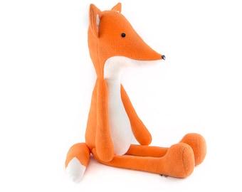 "Stuffed Fox animal. Plush fox. Orange fox. Soft big toy fox named ""Seva"". Soft orange fox with moving legs and arms. Soft friend for hugging"