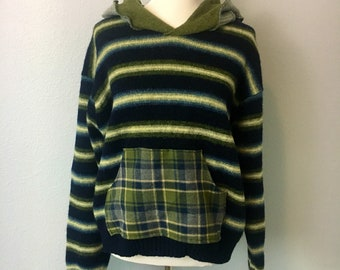 Upcycled clothing, upcycled sweater hoodie, upcycled wool, wool sweater hoodie, striped hoodie, striped sweater, xl hoodie, upcycled xl