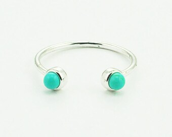 Sterling Silver Dainty Small Double Round Turquoise Ring in silver. Hypoallergenic.