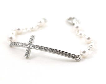 Rosary Bracelet - Cross Jewelry - Swarovski Pearls - Religious - Catholic - Christian