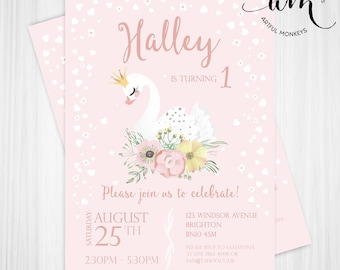 Printable Swan Princess Party Invitation | Personalized