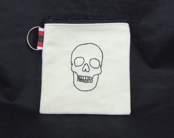 Black Skull Embroidered Pouch