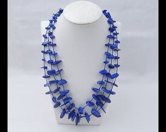 ON SALE Natural Lapis Lazuli Gemstone Freeform Necklace,1 Strand,41cm In The Length,31x7x5mm,9x6x3mm,74.3g(t0975)