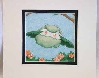 "Cottonee Fan Art- Pre-matted, 8""x8"""
