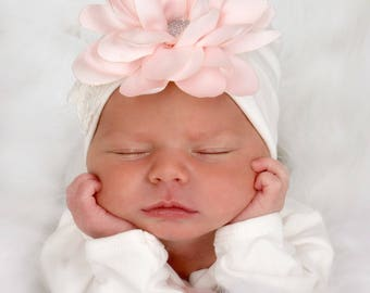 Newborn Girl Hat, Baby Hospital Hat, Baby Shower Gift, Baby Girl Cap