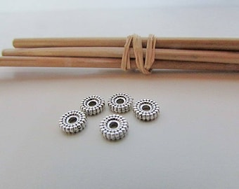 10 Pearl spacer beads 6 x 2 mm silver - hole 1.5 mm - 645