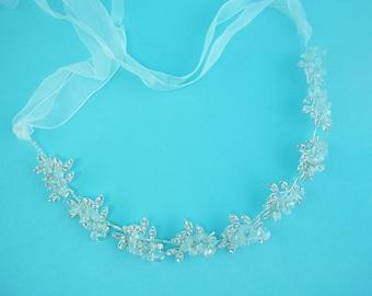Ribbon Headband Crystal, Wedding Ribbon Headband Bridal, wedding headpiece, rhinestone tiara, Catalina Crystal Leaf Vine Headband