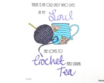 Crochet, Drink Tea, Quote Print, Illustrated Quote, Illustrated Print, Crochet Print, Crochet Lover, Crochet Quote, Craft Room Print,