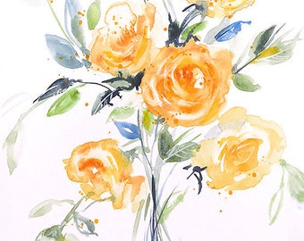 Watercolor original, rose painting, flower painting, floral wall decor, flower painting, yellow wall decor, gallery wall, gift for her
