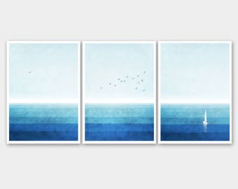 Deep Blue-set of 3 prints-three fine art Giclée prints-seascape-gulls-watercolour sea-abstract minimalist