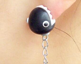 Chain Chomper Polymer Clay Earrings Fan Art